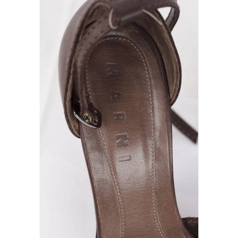 Marni Brown Leather Platform Sandals Heels Shoes Size 39 For Sale 1