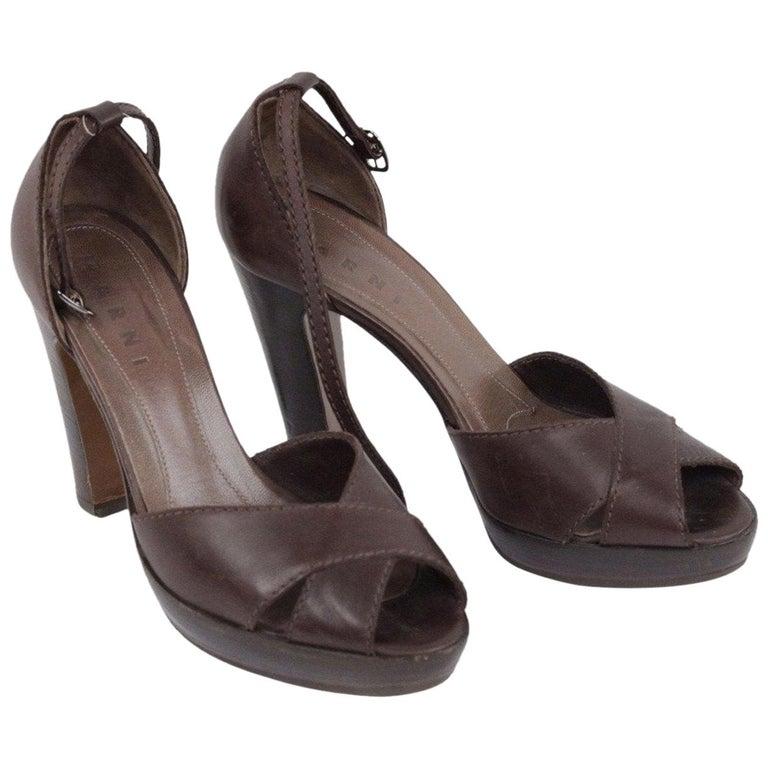 Marni Brown Leather Platform Sandals Heels Shoes Size 39 For Sale