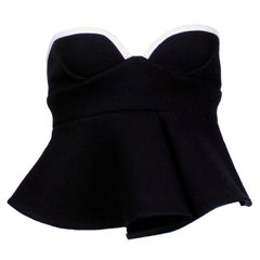 Marni Black Felted Wool Bustier With Silk Lining and White Trim with Peplum