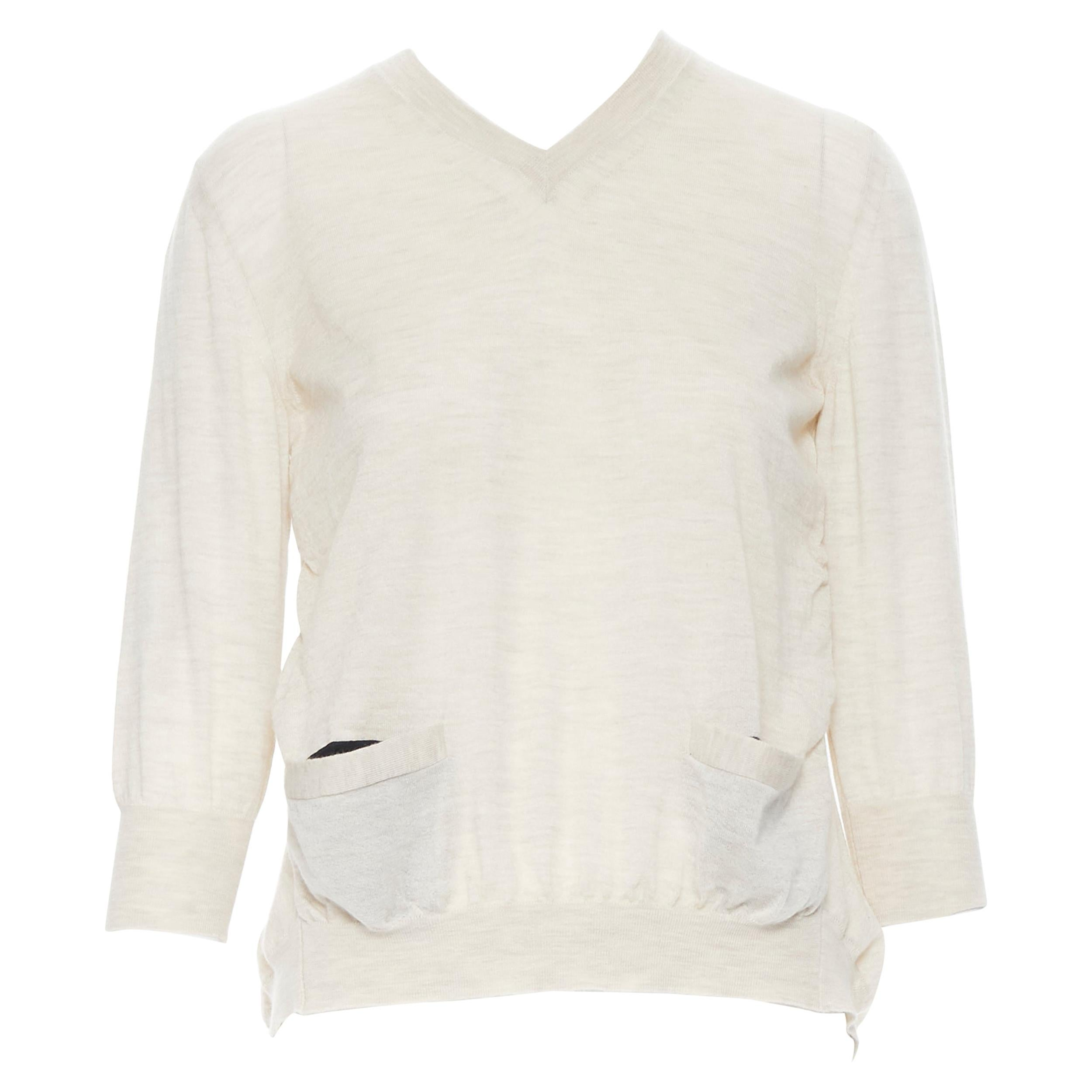 MARNI cashmere blend beige dual front pocket 3/4 sleeve sweater top IT38 XS