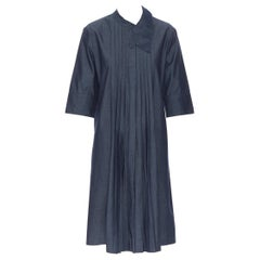 MARNI dark blue denim cotton deconstructed collar pleated casual dress IT42