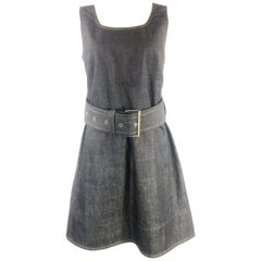 MARNI Dark Blue Denim Sleeveless Belted Mini Dress Size 40