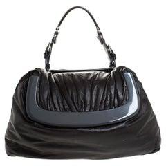 Marni Dark Grey Soft Leather Frame Flap Shoulder Bag