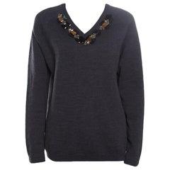 Marni Dark Grey Wool Crystal Embellished V Neck Sweater M