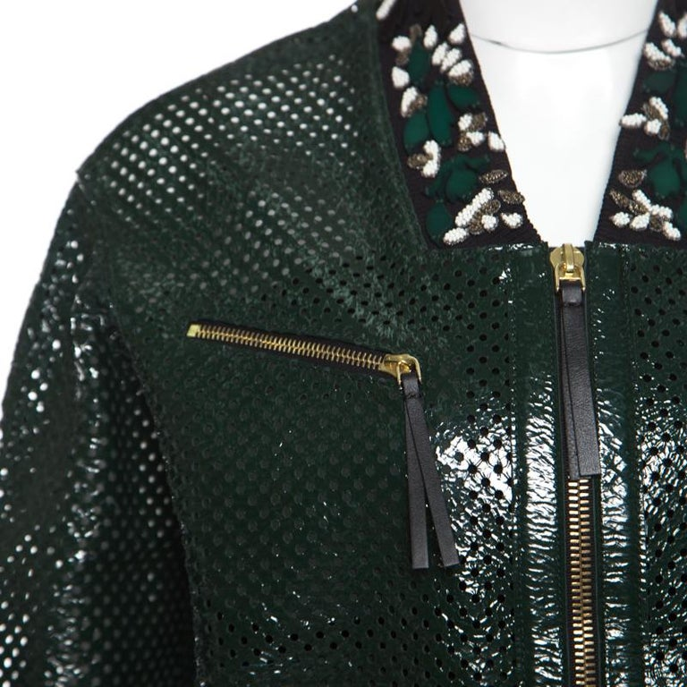 Women's Marni Emerald Green Perforated Leather Floral Embellished Detail Bomber Jacket S For Sale