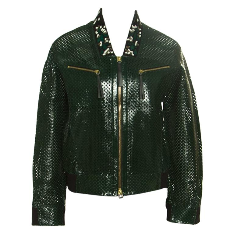 Marni Emerald Green Perforated Leather Floral Embellished Detail Bomber Jacket S For Sale