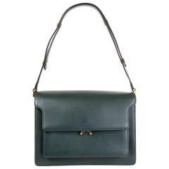 MARNI forest green leather TRUNK LARGE Shoulder Bag