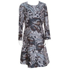 Marni Grey Cotton Silk Bellwoods Printed A Line Dress M