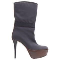 MARNI grey fabric upper brown leather platform round toe high heel boot EU36