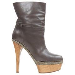 MARNI grey leather upper stacked wooden platform peep toe bootie heel EU36