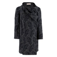 Marni Grey Virgin Wool Blend Floral Wrap Coat SIZE 40 (Italy)