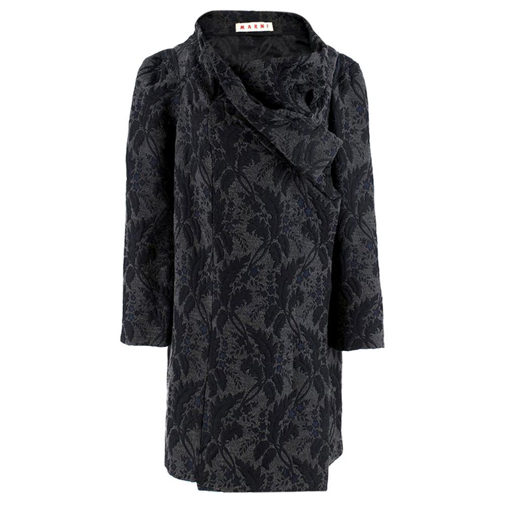 Marni Grey Virgin Wool Blend Floral Wrap Coat Size US 4