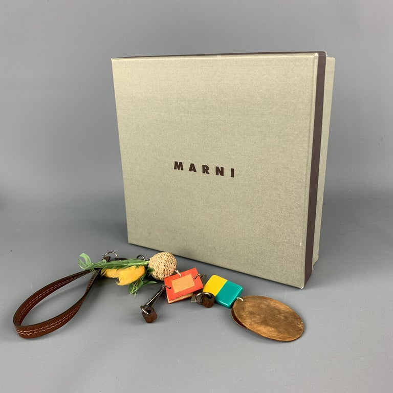 MARNI Multi-Color Mixed Metal Patent Leather Square Key Ring For Sale 1