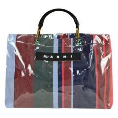 Marni Multi-Color PVC Leather-Trimmed Striped Canvas Large Glossy Grip Tote Bag