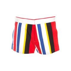 Marni Multicolor Wide Striped Cotton Shorts S
