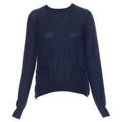 MARNI navy blue cashmere dual front slit pocket long sleeve sweater IT40 S