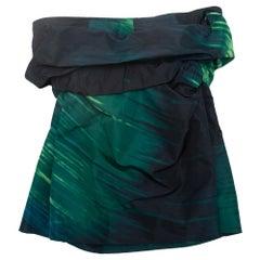 Marni Navy & Green Strapless Top