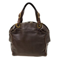 Marni Olive Green/Brown Leather Kiss lock Satchel