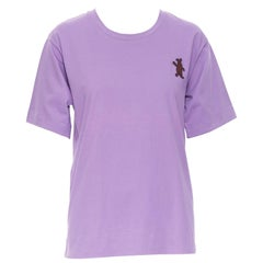 MARNI purple cotton brown bunny embroidery patch short sleeve t-shirt top IT40