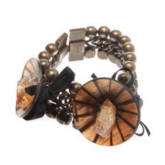 MARNI Pyrite-embellished flower bracelet