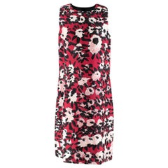 Marni Red Abstract Floral Print Cotton & Silk Blend Dress - Size US 8