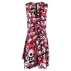 Marni Red Abstract Print Silk Dress - Size US 8