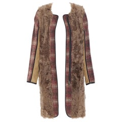 MARNI red checked wool tweed shearling fur panel colorblocked sleeve coat IT40