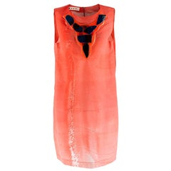 Marni Red Sheer Pebble Applique Shift Dress - Size Estimated M