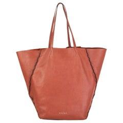 MARNI rust brown leather Shopper Tote Shoulder Bag
