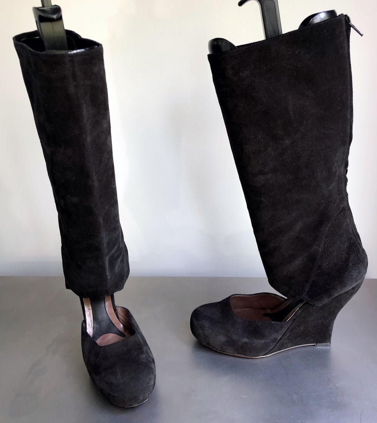 Marni Size 10 / 40 Early 2000s Black Suede Cut - Out Knee High Wedges Boots For Sale 6