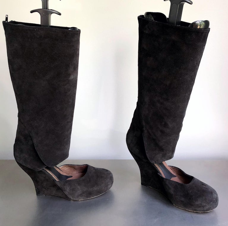 Marni Size 10 / 40 Early 2000s Black Suede Cut - Out Knee High Wedges Boots For Sale 7