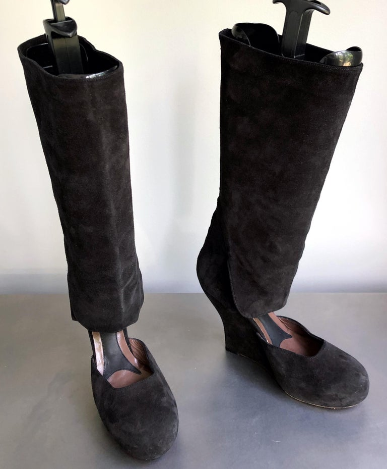 Marni Size 10 / 40 Early 2000s Black Suede Cut - Out Knee High Wedges Boots In Excellent Condition For Sale In Chicago, IL