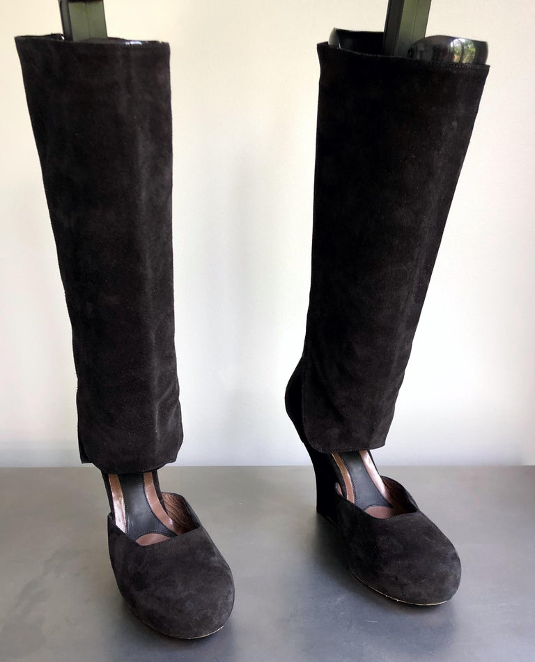 Marni Size 10 / 40 Early 2000s Black Suede Cut - Out Knee High Wedges Boots For Sale 1