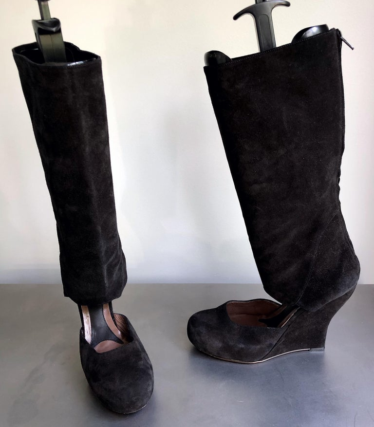 Marni Size 10 / 40 Early 2000s Black Suede Cut - Out Knee High Wedges Boots For Sale 2