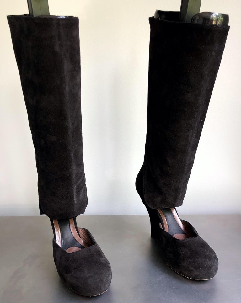 Marni Size 10 / 40 Early 2000s Black Suede Cut - Out Knee High Wedges Boots For Sale 3