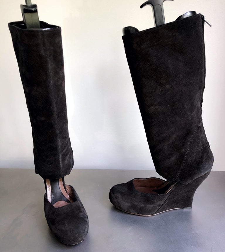 Marni Size 10 / 40 Early 2000s Black Suede Cut - Out Knee High Wedges Boots For Sale 4