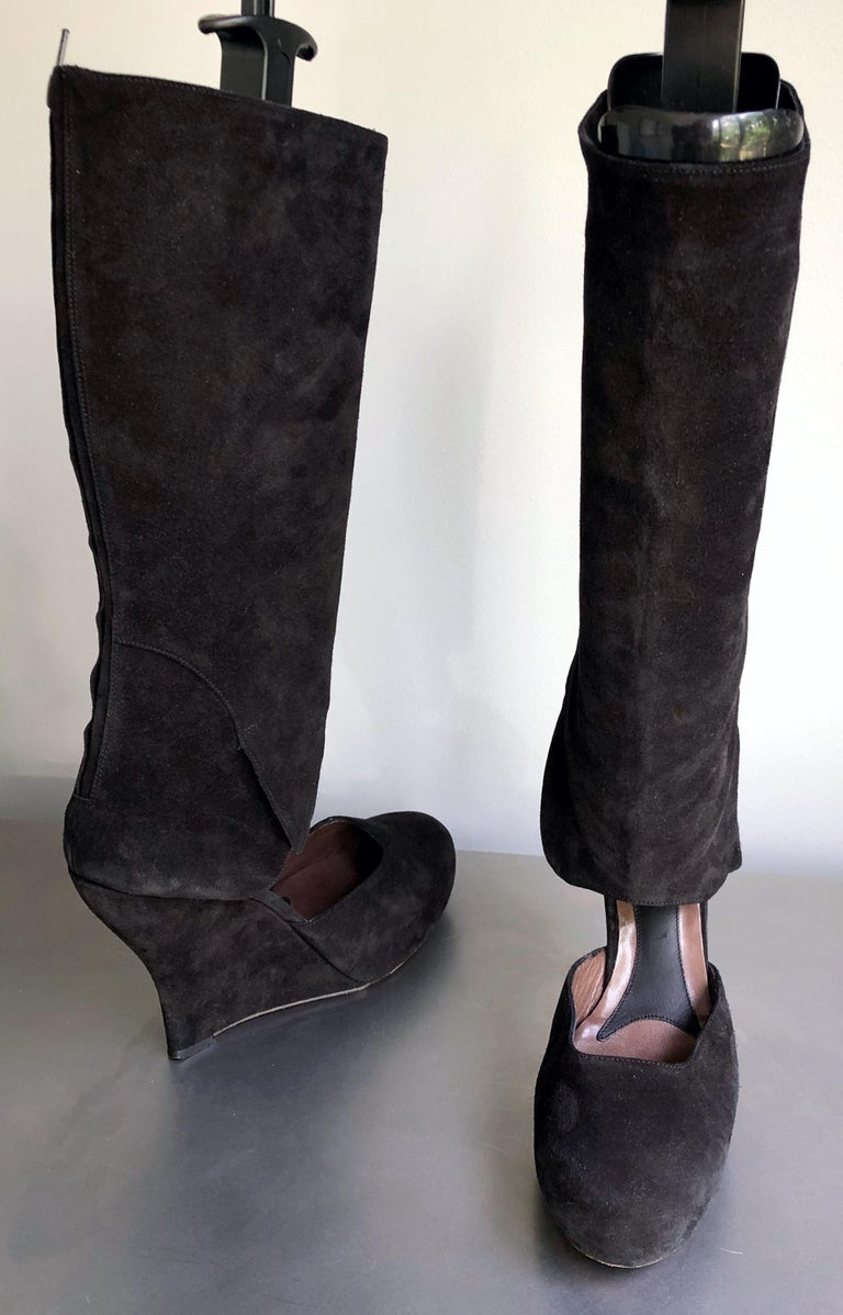 Marni Size 10 / 40 Early 2000s Black Suede Cut - Out Knee High Wedges Boots For Sale 5