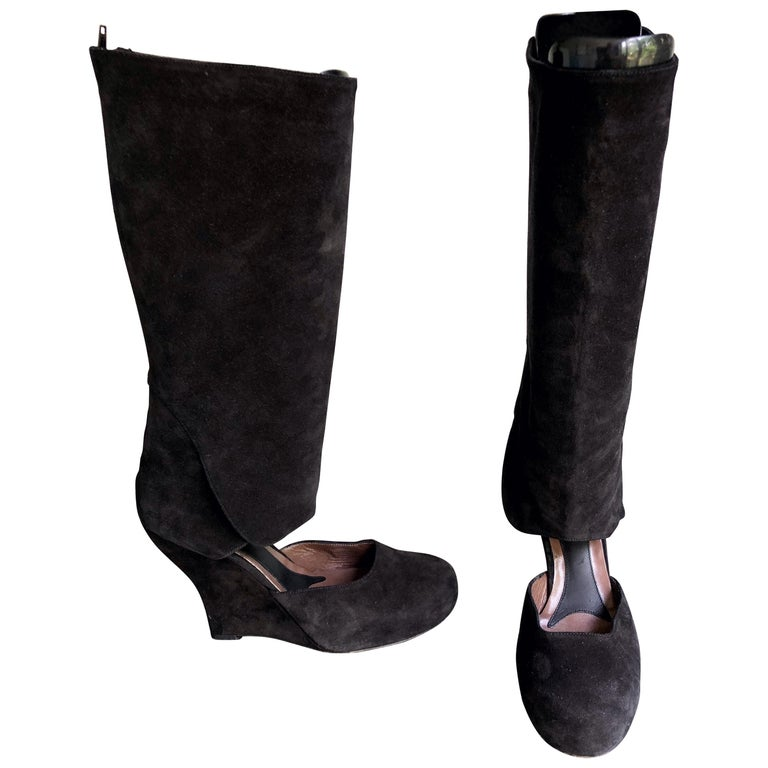 Marni Size 10 / 40 Early 2000s Black Suede Cut - Out Knee High Wedges Boots For Sale