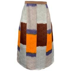 MARNI Size 10 Blue & Multi-Color Silk / Linen A-Line Skirt