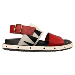 MARNI Size 10 Red & White Leather Belted Sandals