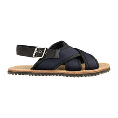 MARNI Size 11 Navy Two Toned Nylon Cross Strap Sandals