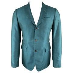 MARNI Size 38 Teal Wool Notch Lapel Sport Coat