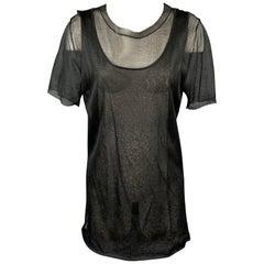 MARNI Size 6 Black See Through Silk Layered Tank Casual Top