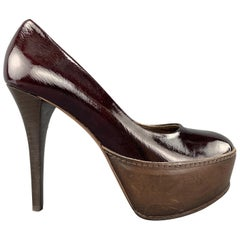 MARNI Size 6 Burgundy Patent Leather Brown Panel Platform Pumps