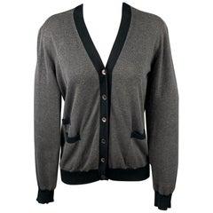 MARNI Size 6 Grey Jersey Two Tone Cotton Cardigan