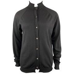MARNI Size 8 Black Virgin Wool Stand Up Collar Cardigan