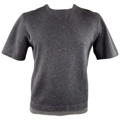 MARNI Size L Dark Gray Cotton Short Sleeve Pullover
