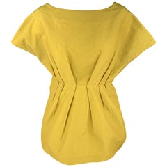 MARNI Size M Yellow Silk Blend Crepe Pleated Peplum Blouse