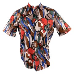 MARNI Size S Multi-Color Print Cotton Button Up Long Sleeve Shirt