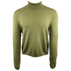 MARNI Size S Olive Cashmere Turtleneck Elbow Patch Pullover Sweater